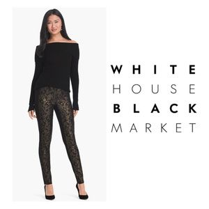New WHBM Jacquard Skinny Black Pants Ponte Stretch